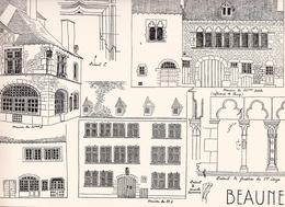 Reproduction D'un Dessin D'architecture Concernant Le Centre Historique De BEAUNE - Autres Collections