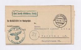 """DR Dienstbrief Amtsgericht WANNE-EICKEL > WARSTEIN, """"Frei Durch Ablösung Reich"""" 1944 - Servizio"""