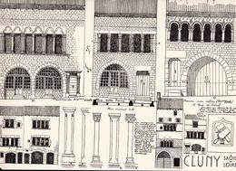 Reproduction D'un Dessin D'architecture Concernant Le Centre Historique De CLUNY - Autres Collections