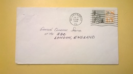 1964 BUSTA AIR MAIL BOLLO LIBERTY FOR ALL ANNULLO WILKES BARRE PER LONDRA LONDON ENGLAND - Posta Aerea