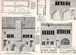 Reproduction D'un Dessin D'architecture Concernant Les Maisons XII Em & XIII Em  Du Centre Historique De CLUNY - Autres Collections