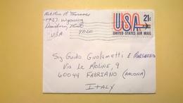 1972 BUSTA AIR MAIL BOLLO UNITED STATES  ANNULLO POSTAL SERVICE 481  PER ITALY - Posta Aerea