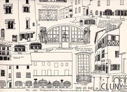 Reproduction D'un Dessin D'architecture Concernant Les Rues Avec Boutiques  Du Centre Historique De CLUNY - Autres Collections