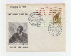 Enveloppe Avec Timbre République Du Niger Lion Surchargé, Cachet Commémoratif Indépendance Niamey 1960. (948) - Niger (1960-...)