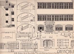 Reproduction D'un Dessin D'architecture Concernant Le Centre Historique De GRENOBLE - Autres Collections