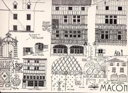 Reproduction D'un Dessin D'architecture Concernant Le Centre Historique De MACON - Autres Collections