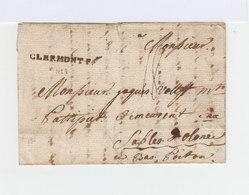 Sur Pli Cachet Linéaire Clermont F. Destination Les Sables D'Olones En Bas Poitou. (949) - Marcophilie (Lettres)