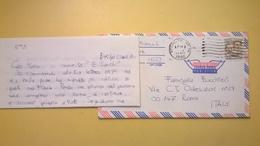 1980 BUSTA AIR MAIL BOLLO WRIGHT ANNULLO BROOKLYN PER ITALY CON LETTERA - Posta Aerea
