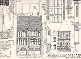 Reproduction D'un Dessin D'architecture Concernant Le Centre Historique D' ORLEANS Rue Du Tabourg - Autres Collections
