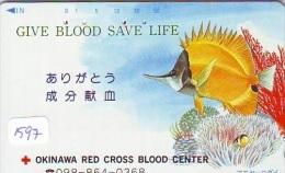 Telecarte Japon * Croix Rouge (1597) PHONECARD JAPAN * Red Cross * TELEFONKARTE * ROTES KREUZ * POISSON * FISH * CORAL - Publicidad
