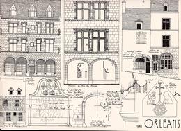 Reproduction D'un Dessin D'architecture Concernant Le Centre Historique D' ORLEANS Rues Du Poirier Chèvre  Poterner - Autres Collections