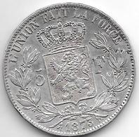 *belguim 5 Francs  Leopold II  1873 Vf+ Large Protege Stars Normal - 1831-1865: Léopold I