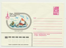 46-124  Russia USSR Postal Stationery Cover 13.09.1979 Moscow 1980 Olympics Sailing - 1923-1991 USSR