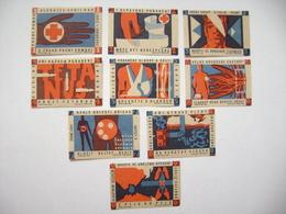 Czechoslovakia: Series 9 Matchbox Label 1964 - Helth Regulations, First Aid - Rescue Breathing, Bandage Technique - Boites D'allumettes - Etiquettes