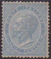 Italia Regno - 049** 1865 – Vittorio E. II 15 C. Celeste Chiaro Con Discreta Centratura N. L18. Cert. Fiechi / Biondi. - Mint/hinged