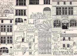 Reproduction D'un Dessin D'architecture Concernant Les Rues Nationale, E. Poulet Du Centre Historique De VILLEFRANCHE 71 - Autres Collections