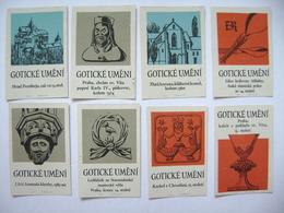 Czechoslovakia Series 8 Matchbox Label 1964 - Gothic Art - Buildings, Churches, Charles IV. Bust, Chalice 15. Cent. - Boites D'allumettes - Etiquettes