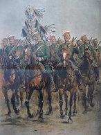 AFFICHE CHEVALIERS GARDES RUSSES 1884 Edouard DETAILLE 74 X 47.5 Cm - Affiches