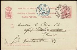 1890 Carte Postale écrite Luxembourg-Paris, Très Beaux Cachets  2Scans - Entiers Postaux