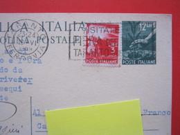 A.01 ITALIA ANNULLO TARGHETTA - 1949 TARANTO FIERA DEL MARE CARTOLINA POSTALE 12 LIRE - Esposizioni Universali