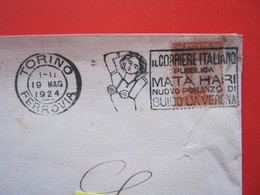 A.01 ITALIA ANNULLO TARGHETTA - 1924 TORINO GUIDO DA VERONA PUBBLICA ROMANZO MATA HARI SCRITTORE REGGISENO CORRIERE - Scrittori