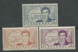 Dahomey N° 110 / 12  X  Centenaire De La Mort De René Caillié Les 3 Valeurs Trace De Charnière Sinon  TB - Dahomey (1899-1944)