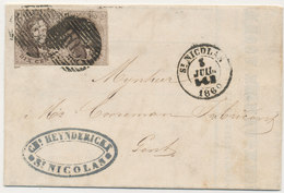 1860 BRIEF VAN St NICOLAS NAAR GAND MET COB 10A?(paar) ZIE SCAN(S) - 1858-1862 Medallions (9/12)