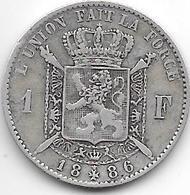 *belguim 1 Franc  Leopold II  1886 /66 French  Fr+ - 1865-1909: Leopold II