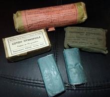 LOT PANSEMENT INDIVIDUELS FRANCAIS MODELE 1949, PANSEMENTS ACEPTIQUES 1939, COTON HYDROPHILE 50 GRAMMES , 2 BANDES GAZE - Equipement