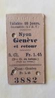 Ticket Suisse - Nyon Genève 1911 - état : Comme Sur Les Photos - Chemins De Fer