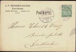 1917 Carte Postale Privée écrite  J.P.Beringer-Kayser, Esch-sur-Alzete-Diekirch  2Scans - Entiers Postaux