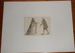 Costumes De Ville D'Abbé Et D'Abbesse, D'après Les Costumes Français De Dupin. - Estampes & Gravures