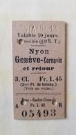 Ticket Suisse - Nyon-Genève-Cornavin 1913 - état : Comme Sur Les Photos - Chemins De Fer
