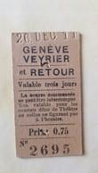 Ticket Suisse - Genève-Veyrier 1911 - état : Comme Sur Les Photos - Chemins De Fer