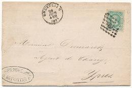 1871 BRIEF VAN BRUXELLES(DU) NAAR YPRES(2-ring) MET COB 30 ZIE SCAN(S) - 1869-1883 Léopold II
