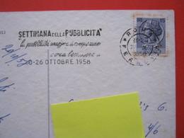 A.01 ITALIA ANNULLO TARGHETTA 1958 ROMA SETTIMANA PUBBLICITA INSEGNA COMPRARE CREA BENESSERE CARD HOTEL METROPOLE NAPOLI - Alimentazione