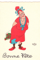 DUBOUT  Ed Du Moulin  N°2   -  Bonne Fete  Vieille Femme -   CPSM  10,5x15 Etat LUXE 1957 Neuve - Dubout