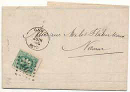 1870 BRIEF VAN GAND(DU) NAAR NAMUR(2-ring) MET COB 30 ZIE SCAN(S) - 1869-1883 Léopold II