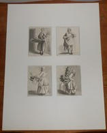 Quatre Mini Gravures Du XIXe. Métiers Du XVIIIe. - Estampes & Gravures