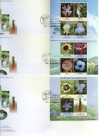 India 2013 Wild Flowers Of India Lily Sunflowers Poppy Set Of 3 M/s On FDCs - Plants