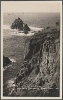 Cliffs, Armed Knight And Longships Lighthouse, Land's End, Cornwall, C.1940s - First & Last House RP Postcard - Land's End
