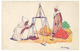 Cpa Signée Sandoz - Edité Par La Cie Générale Transatlantique, Auto-circuits Nord-Africains ( Balance, Poids ) - Altre Illustrazioni