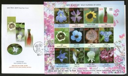 India 2013 Wild Flowers Of India Lily Sunflowers Poppy Plant 12v Sheetlet On FDC - Plants