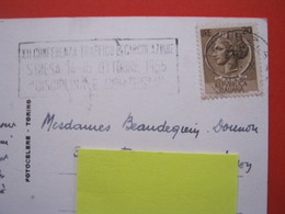 A.01 ITALIA ANNULLO TARGHETTA - 1955 VENEZIA CONFERENZA TRAFFICO E CIRCOLAZIONE STRESA VERBANIA CARD BASILICA SAN MARCO - Trasporti