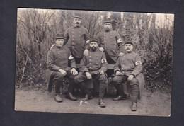 Carte Photo Guerre 14-18 Groupe De Militaires Brassard Croix Rouge Infirmier Infirmiers Numero 4 Au Col écrite De Troyes - Guerre 1914-18