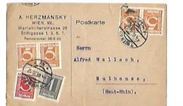 POSTKARTE  A. HERMANSKY WIENN  Für Herrn Alfred WALLACH MULHOUSE Frankreich - Autriche