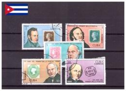 Cuba 1990 - Oblitéré - Rowland Hill - Timbres Sur Timbres - Michel Nr. 3382-3386 (cub360) - Cuba