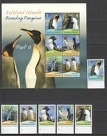 W532 2010 FALKLAND ISLANDS BREEDING PENGUINS #1118-23 MICHEL 29 EURO KB+SET MNH - Penguins
