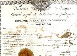 RARE 1822 - Diplome Docteur En Medecine Académie De Montpellier AMIEL   Aurignac 31 ( Nombreux Trous Defauts) - Diplômes & Bulletins Scolaires