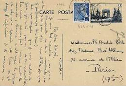 Carte 403 CP 1 Avec TP N° 407 En Complément De Dinard Pour Paris - Postwaardestukken